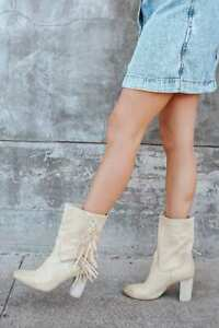 Free People Wild Rose Slouch Fringe Heel Boots Size 38