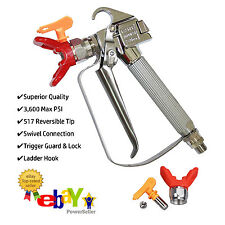 Jinwen 122532 Airless Paint Spray Gun with Swivel & 517 Tip - 3,600 PSI Max Pres