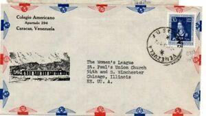 Venezuela 1952 airmail cover from Colegio Americano to US