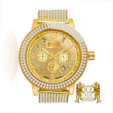 Real Diamond Khronos Joe Rodeo Yellow Gold Tone Steel 2 Row Bezel Custom Watch