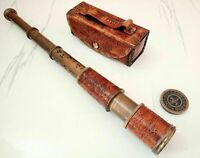 VINTAGE TELESCOPE MARINE ANTIQUE BRASS LEATHER PIRATE SPYGLASS VINTAGE REPLICA