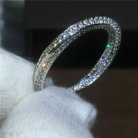 3 Ct Round Cut Diamond 14K White Gold Over Women's Eternity Wedding Band Ring