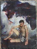 """Russischer Realist Expressionist Öl Leinwand """"Akt"""" 118 x 80 cm"""