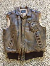 Medium Vtg 1992 AVIREX Brown Leather USAF Type B-9 Flight Bomber Motorcycle Vest