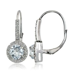Sterling Silver Aquamarine and White Topaz Round Leverback Earrings