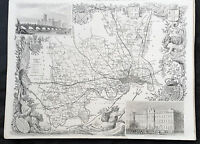 1836 Thomas Moule Original Antique Map of The County Middlesex, London, England