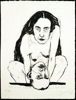 Kunst in der DDR. Akt. Grosse Lithographie Angela HAMPEL (*1956 D), handsigniert