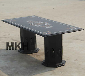 Coffee Table For Living room // Handmade Black Marble Inlay Stones //