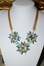 SPECTACULAR MULTICOLOR BEAD AND STONE CENTERPIECES GOLD TONED CHAIN BIB NECKLACE