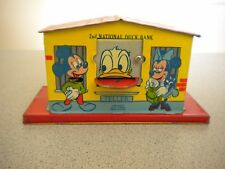 """DISNEY 1950s """"2nd NATIONAL DONALD DUCK MECHANICAL TIN BANK"""" COMPLETE - WORKS"""