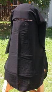 Egyptian 3 Layer Niqab Long BLACK  Veil Muslim Korean Chiffon Burqa Hijab