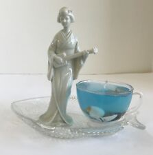 Lavender Scented Seascape Gel Candle in Glass Cup on Fish Plate with Geisha