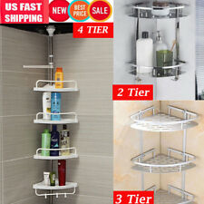 4 Shelf Shower Corner Tension Pole Caddy Organizer Bathroom Bath Storage Rack O