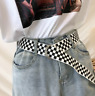 NEW UNISEX RAVE FESTIVAL CLUB HIP HOP CHECKERED BLACK WHITE LONG BELT UK SELLER