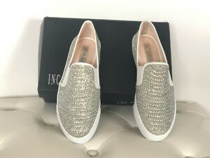 INC Sammee 2 Glo Champagne Shimmer Bling Slip On Sneakers 8.5!  FREE SHIPPING!