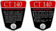 CT140 K1 CT70  140cc Custom frame decals, graphics, frame warning    RED