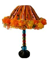"""Unique Boho Multi Colorful Table Lamp Ribbon Beaded Lampshade Stacked balls 15"""""""