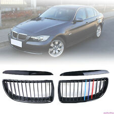 Glossy Black M-Color Front Kidney Grilles For BMW E90 Sedan/E91 Touring 4D 05-08