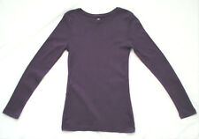 LADIES' PURPLE LONG-SLEEVED ROUND NECK COTTON TOP FROM PEACOCK'S: SIZE 8
