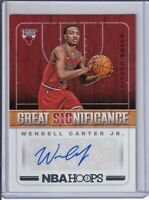 2018-19 HOOPS WENDELL CARTER JR ROOKIE GREAT SIGNIFICANCE AUTO (CHICAGO)