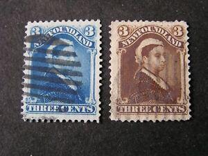 NEWFOUNDLAND, SCOTT # 49+51, 3c(2). VALUES BLUE+UMBER 1887 QV USED