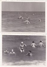 1958 Nude Sexy Women men in swimsuits in the sea set of 2 Russian Soviet photo