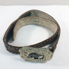 """Handcrafted 33"""" Leather Belt Linda LK Western Cutouts Bronco Silver Buckle Flaws"""