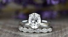 Bridal Ring Set 14k White Gold Gp 1.50 Ct Oval Solitaire Moissanite Wedding Band