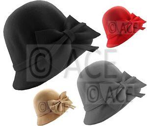 Womens 100% Wool 20s Vintage Hats Downton Abbey Gatsby Cap Cloche Hat Adjustable