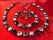 Made w/Swarovski 8mm crystals AB,Black,Clear & Black Diamond In antique silver