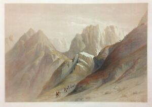 SINAI 1845 DAVID ROBERTS ANTIQUE VERY LARGE LITHOGRAPHIC VIEW 19e CENTURY