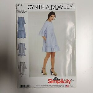 Simplicity 8414 Cynthia Rowley Pintuck Loose FIt Dress Pattern NEW Uncut XS - XL