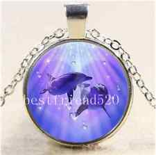 Dolphin Love Photo Cabochon Glass Tibet Silver Chain Pendant Necklace