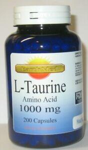 L Taurine Amino Acid 1000 mg 200 Capsules Supports Heart Health