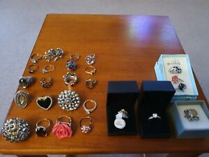 JOB LOT Costume Jewellery Rings Dress Up Party Mixed Bundle Mixed Sparkly 27