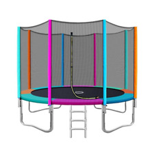 Kids 12ft Round Everfit Trampoline Ladder Multicoloured Padding Safety Net
