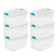 Sterilite 64 Quart Clear Plastic Storage Boxes Bins Totes w/ Latches (6 Pack)