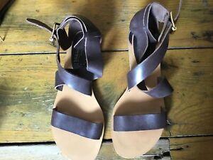 Bertie Dark Bown Ankle Strap Sandles UK 6