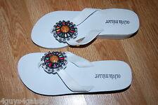 Womens Shoes WHITE Flip Flops 2 Inch WEDGE HEEL Beaded Medallion Soft Straps 8