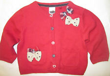 Baby girls red knit cardigan NEXT long sleeve 0 1 3 6 9 12 18 months NEW