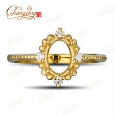 5x7mm Oval 14k Yellow Gold Natural Full Cut Diamond Engagement Semi Mount Ring