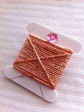 Dark Peach Silky Metallic Embellishing Twine Thread x 3m Wonderfil Dazzle