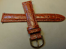 Timex Brown Padded Crocodile Grain 18mm Embossed Genuine Leather Watch Band