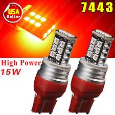 2X Pure Red 7443 7444NA 992A 2835 High Power 15W Parking Backup LED Light 12V US