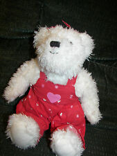 Hallmark Red Overalls whiteTeddy Bear Plush Stuffed Animal Hearts Collectible