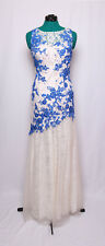 CUSTOM WHITE BLUE LACE EMBELLISHED PROM FORMAL GOWN DRESS 6