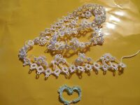 """Tatted  Lace Trim 14"""" White Colors Crazy Quilts Shuttle Tatting Dove Country"""