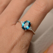 1.65 Ct Real Diamond Oval Cut Blue Topaz 950 Platinum Engagement Ring Size M N O