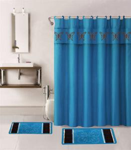BUTTERFLY NEW PRINT DESIGN BATHROOM SET BATH MATS RUG SHOWER CURTAIN LID COVER