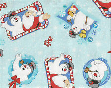 FROSTY THE SNOWMAN with Santa Snowflakes Candy Canes Cotton Fabric BTY